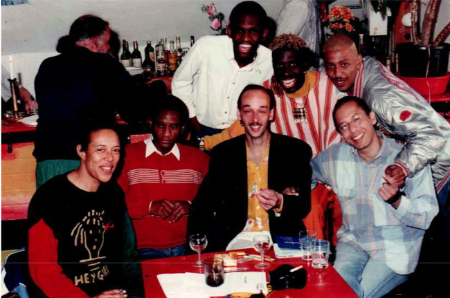 Figure 4 Members of Strange Fruit. Standing in the back from left to right: Andy Garton, Marlon Reina, Reggie Williams, and Jerry Haimé. Sitting in front from left to right: Anne Krul, Gilbert-Jean Francourt, Oebele Kooistra, and Andre Reeder (1997). Source: personal archive of Jerry Haimé.